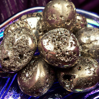 "PYRITE ""Abundance Stone"" Lucky Pocket Stone Helps Memory Aids Positive Outlook & Cash Flow - Ancient Protection Talisman aka Fool's Gold"