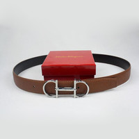 Ferragamo Men Woman Fashion Smooth Buckle Belt Leather Belt