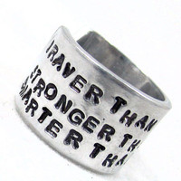 """Braver Than You Believe - Winnie the Pooh 1/2"""" Handstamped Aluminum Ring"""