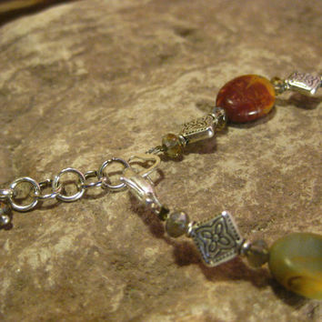 Picasso Jasper and Crystal Gemstone Bracelet, Handmade Stone Jewelry From The Hidden Meadow