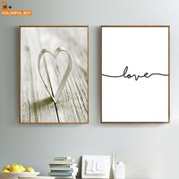 Heart Love Wall Art Canvas Painting Posters And Prints Nordic Poster Minimalist Landscape Wall Pictures For Living Room Decor