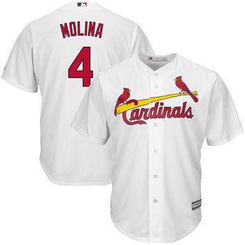 Majestic Yadier Molina Youth White Official Cool Base Player Jersey