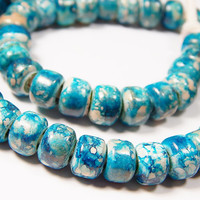 50 Pcs - 9x8mm Aqua Blue And Copper Marble Glass India Crow Beads - Crow Rollers - Glass Pony Beads - Jewelry Supplies