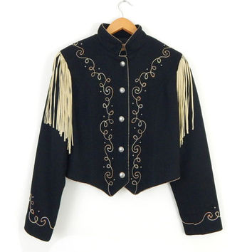 1990s Vintage Cropped Black Wool Fringed Western Jacket - Leather Fringed Embroidered Women's Southwest Jacket - Size Medium