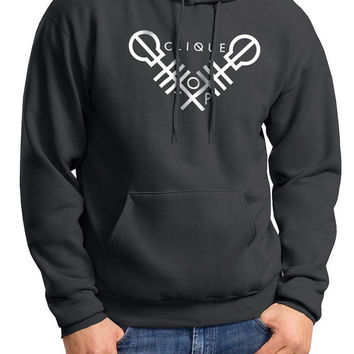 Twenty One Pilots, 21 Pilots, Crossed Clique Heat Transfer Vinyl on 50/50 Cotton/Polyester Smoke Gray Hoodie