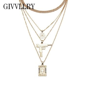 GIVVLLRY Elegant Multilayer Chain Necklace for Women Men Jewelry Punk Gold Silver Color Anti War Gun Cross Pendant Necklace