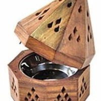 """Wooden Incense Holders From India Temple Wooden Charcoal/Cone Burner, 5"""" H"""