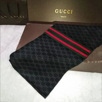 GUCCI classic wool velvet striped shawl men's scarf