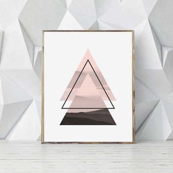 Printable Geometric Art, Scandinavian Print, Triangle Print, Abstract Nature Print, Photographic Print, Nordic Poster, Scandinavian Poster
