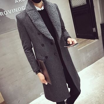 Long Trench Coats Mens Fur Collar Long Coats Double Breasted Gabardina Mens Overcoat Slim Fit Woolen Winter Jacket Vintage