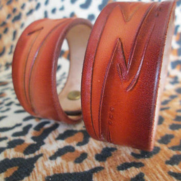 Handmade leather bracelets, hand tooled cuffs, lightning bolt bracelets, Mens bracelets, Womens bracelets