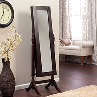 Jewelry Armoire & Full-Length Tilting Mirror in Espresso Brown Wood Finish