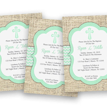 Mint Baptism Invitation Boys - Burlap Chevron Baptism Invite - Christening Invitations - Cross - Religious - LDS - Spanish - Fast - Custom