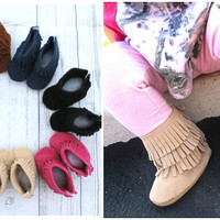 Leather Fringe Baby Boots Moccasins | Baby Boot Moccs