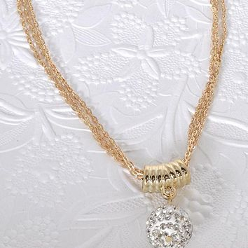Multi Strand Necklace with Crystal Studded Bead Pendant