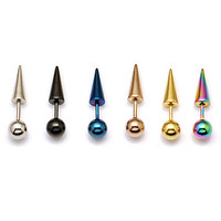 Fashion (Taper Shape) Multicolor Titanium Steel Stud Earrings(Silver,Black,Blue,Rose,Gold,Multicolor) (1 Pc)