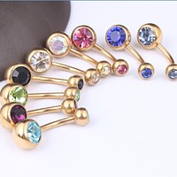 Hot 1 Pc Unisex Charm Punk Golden Crystal Rhinestones Navel & Belly Button Rings Body Piercing Jewelry 9 Colors