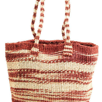 Small Rust Hand Woven Zebra Stripe Sisal Tote Bag