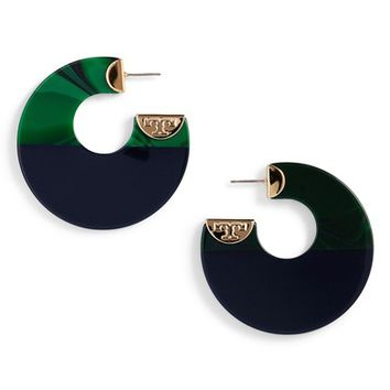 Tory Burch Resin Colorblock Hoop Earrings | Nordstrom