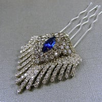 Royal Blue Rhinestone Jewelry Wedding Hairpiece Jeweled Headpiece Art Deco Hair Accessories Ballroom Jewelry Pageant Accessory Vintage Comb