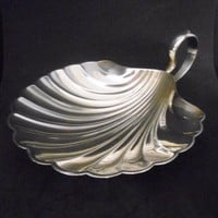 Sterling Clam Shell Nut Candy Footed Dish Meriden Brittania Late 1800's Antique Home Entertaining Decor