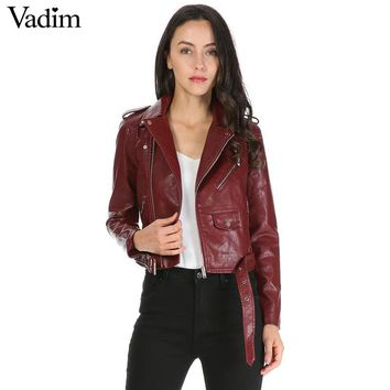 women candy color faux PU leather short motorcycle jacket zipper pockets sexy punk coat ladies casual outwear tops casaco CT1293