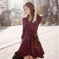 Women's Fashion Long Sleeve Spring Skirt Slim Grid Dress = 1958217988