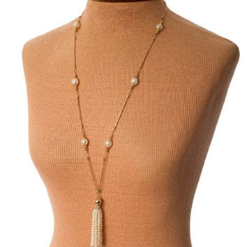 Long Faux Pearl Tassel Necklace