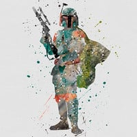 Boba Fett Star Wars Watercolor Art