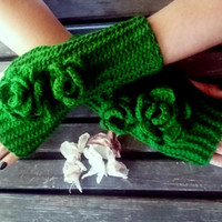 Fingerless Gloves, Knit Mittens, Gloves Crochet, Handmade,Pakistan Green, Hand Warmer, Flower Gloves, Women Gloves, Arm Warmers, Gift Ideas