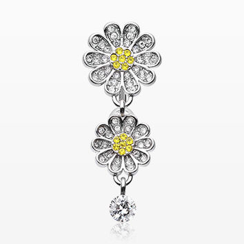 Daisy Glam Multi-Gem Reverse Belly Button Ring