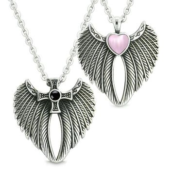 Angel Wings Heart Cross Love Couples Best Friends Simulated Onyx Pink Simulated Cats Eye Necklaces