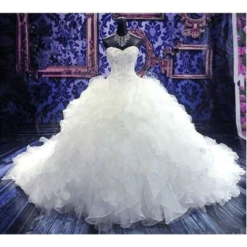 2017 Hot Sale Ball Gown Sweetheart Handmade Luxury Beading Lace Up Gorgeous Cathedral Train Vestido De Novia Wedding Dresses