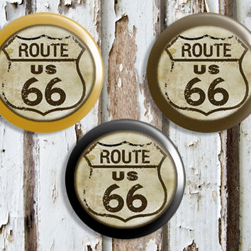 Handmade Route 66 Knob Drawer Pulls, Birch Wood, Old Highway Sign Cabinet Pull Handles, Dresser Knobs, We Make Customized Orders