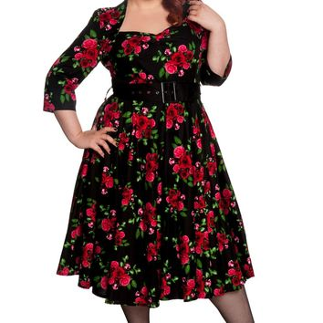 Hell Bunny 50's Eternity Red Rosed Floral Vintage Dress Black
