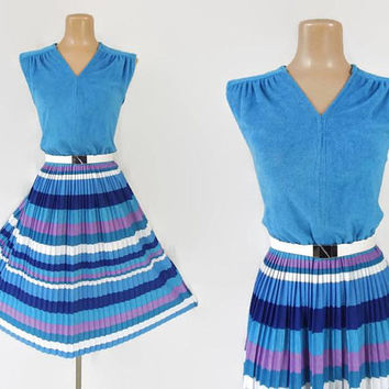 Vintage 70s Dress | 1970s Striped Dress | Terry Cloth Dress | Summer Dress | Fit and Flare Dress | Belted Dress | Pleated Dress | M L XL