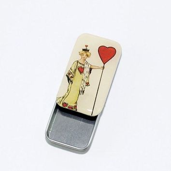 Vintage Queen of Hearts Pill Box, Slider Tin, Mint Tin, Favor Tin - Small