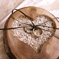 Rustic wedding ring bearer pillow wooden heart ring holder country forest winter decorations