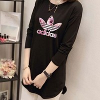 """Adidas"" Women Casual Simple Cherry Blossoms Letter Logo Print Long Sleeve Irregular T-shirt Tops"