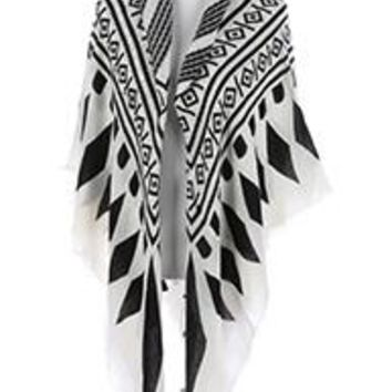 beautiful TRIBAL PATTERN SOFT YARN BLANKET  SCARF Wrap Poncho Black & White One Size