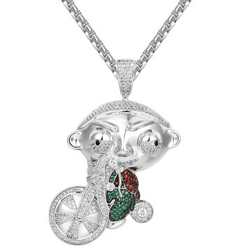 Iced Out Cartoon Character riding Bike Pendant