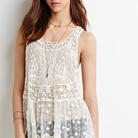 Embroidered-Mesh Crochet Dress