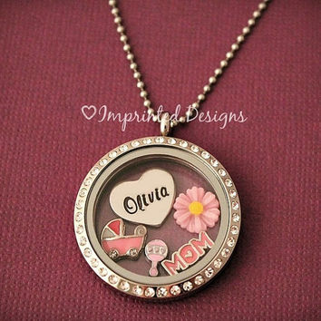 Mom Floating Locket / Floating Charm Locket / Grandma Locket / It's a Girl Necklace