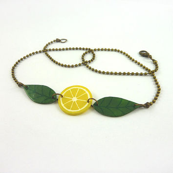 Recycled CD necklace : Slice of yellow lemon and green leaves - by Savousepate