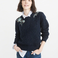 Womens Embroidered Sweater   Womens Tops   Abercrombie.com