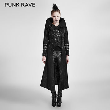 PUNK RAVE BLACK STRETCH TWILL FABRIC COAT WITH CALENDER SCORPION LEATHER AND REMOVABLE HAT Y-364