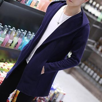 XMY3DWX Men's high-grade pure cotton slim Fit hooded Trench coat/Male leisure slim Fit long kint coat Large size S-5XL