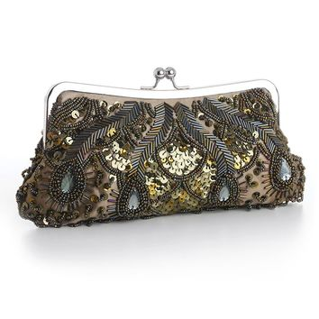 Olive Green Evening Bag with Beads, Sequins & Gems