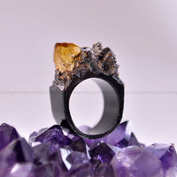 Citrine Crystal, Black, Handmade Ring, Gift for her, Trendy, Unique
