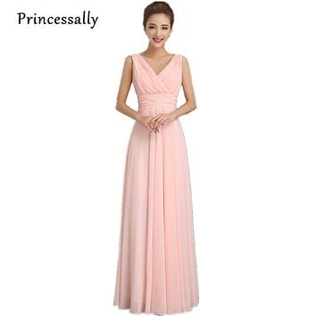 Princessally Bridesmaid Dresses Long Elegant Chiffon Pleat Sexy V-neck Sleeveless Formal Wedding Prom Party Gown Custom Color
